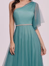 Simple Maxi One Shoulder Tulle Bridesmaid Dress-Dusty Blue 8