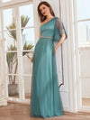 Simple Maxi One Shoulder Tulle Bridesmaid Dress-Dusty Blue 2