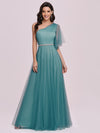 Simple Maxi One Shoulder Tulle Bridesmaid Dress-Dusty Blue 4