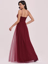 Floor Length Tulle Sleeveless Halter-Neck Evening Dress-Burgundy 5