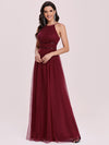 Floor Length Tulle Sleeveless Halter-Neck Evening Dress-Burgundy 6