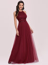 Floor Length Tulle Sleeveless Halter-Neck Evening Dress-Burgundy 7