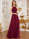 Floor Length Tulle Sleeveless Halter-Neck Evening Dress-Burgundy 1