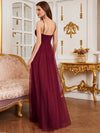 Floor Length Tulle Sleeveless Halter-Neck Evening Dress-Burgundy 2