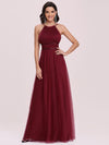 Floor Length Tulle Sleeveless Halter-Neck Evening Dress-Burgundy 4