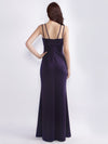 Women'S Elegant V-Neck Floor Length Evening Dress-Dark Purple  2