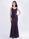 Women'S Elegant V-Neck Floor Length Evening Dress-Dark Purple  1