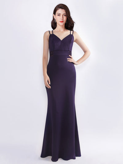 Women's Elegant V-Neck Floor Length Evening Dress