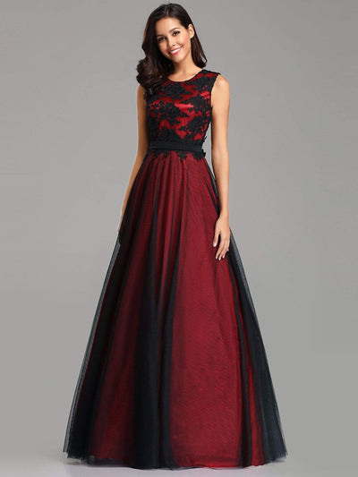 Sleeveless Evening Dress with Black Brocade