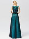 Sleeveless Evening Dress With Black Brocade-Dark Green  2