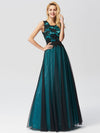 Sleeveless Evening Dress With Black Brocade-Dark Green 3