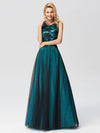 Sleeveless Evening Dress With Black Brocade-Dark Green  4