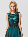 Sleeveless Evening Dress With Black Brocade-Dark Green  5