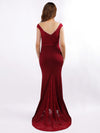 Women'S Sexy V Neck Floor Length Evening Dress-Burgundy  2