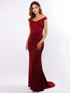 Women'S Sexy V Neck Floor Length Evening Dress-Burgundy  1