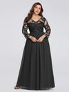 Plus Size Floor Length Evening Dress With Sheer Lace Bodice-Black 4