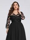 Plus Size Floor Length Evening Dress With Sheer Lace Bodice-Black 5