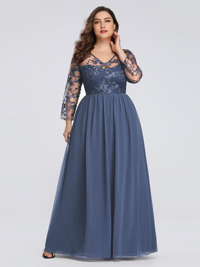 Plus Size Floor Length Evening Dress with Sheer Lace Bodice