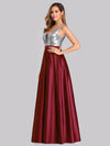 Floor Length Sequin And Satin Prom Dress-Burgundy  3