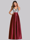 Floor Length Sequin And Satin Prom Dress-Burgundy  4
