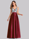 Floor Length Sequin And Satin Prom Dress-Burgundy  1