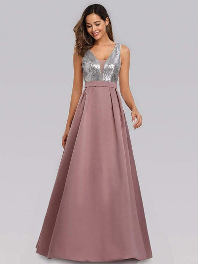 Double V Neck Floor Length Sequin and Satin Prom Dress