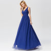 Elegant A Line V Neck See Through Long Bridesmaid Dress-Sapphire Blue 3