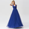 Elegant A Line V Neck See Through Long Bridesmaid Dress-Sapphire Blue 4