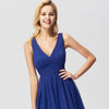 Elegant A Line V Neck See Through Long Bridesmaid Dress-Sapphire Blue 5