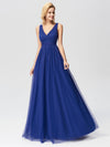Elegant A Line V Neck See Through Long Bridesmaid Dress-Sapphire Blue 1