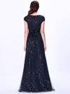 Elegant Cover Sleeve Floor Length Lace Evening Dress-Navy Blue 3