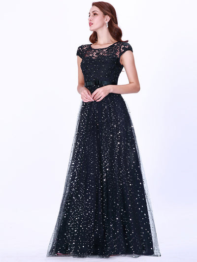Elegant Floor Length Shiny Lace Evening Dress with Cover Sleeve