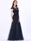 Elegant Cover Sleeve Floor Length Lace Evening Dress-Navy Blue 4