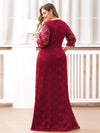Plus Size Half Sleeve Lace Evening Dress With V Neck-Burgundy  2