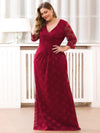 Plus Size Half Sleeve Lace Evening Dress With V Neck-Burgundy  3