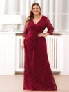 Plus Size Half Sleeve Lace Evening Dress With V Neck-Burgundy  4