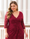 Plus Size Half Sleeve Lace Evening Dress With V Neck-Burgundy  5