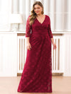 Plus Size Half Sleeve Lace Evening Dress With V Neck-Burgundy  1
