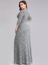 Plus Size Half Sleeve Lace Evening Dress With V Neck-Grey  2