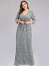 Plus Size Half Sleeve Lace Evening Dress With V Neck-Grey  3