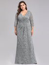 Plus Size Half Sleeve Lace Evening Dress With V Neck-Grey  4