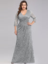 Plus Size Half Sleeve Lace Evening Dress With V Neck-Grey  1