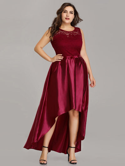 Plus Size High Low Lace & Satin Party Dress