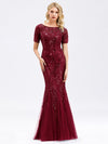 Delicate Embroidery Sequin Fishtail Evening Dress-Burgundy 11