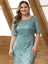 Delicate Embroidery Plus Size Sequin Fishtail Evening Dress-Dusty Blue  5