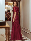 Delicate Embroidery Sequin Fishtail Evening Dress-Burgundy 2