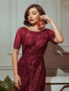 Delicate Embroidery Sequin Fishtail Evening Dress-Burgundy 3