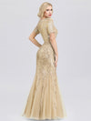 Delicate Embroidery Sequin Fishtail Evening Dress-Gold 2