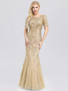 Delicate Embroidery Sequin Fishtail Evening Dress-Gold 1