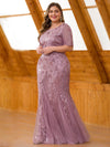 Delicate Embroidery Plus Size Sequin Fishtail Evening Dress-Purple Orchid 3
